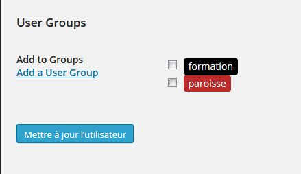 application groupe restreint utilisateur